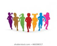 Children running, Designed using colorful graphic vector.